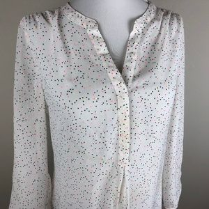Maurices 3/4 Sleeve Blouse Size S White Confetti